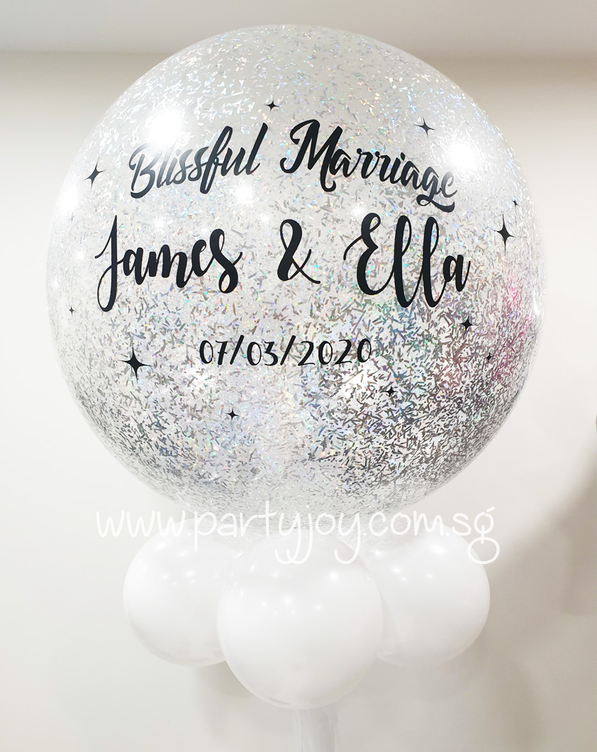 Personalized Glitter Wedding Jumbo Balloon